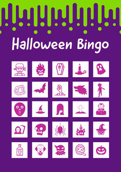 Violet Slime Halloween Party Bingo Card Holiday Party Flyer