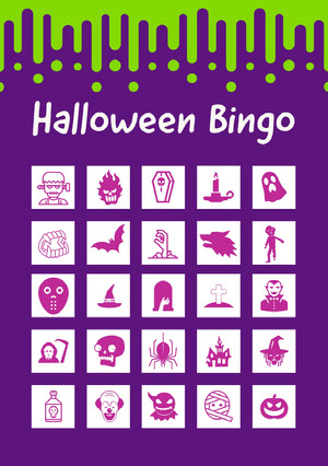 Slime Halloween Party Bingo Card Bingokort