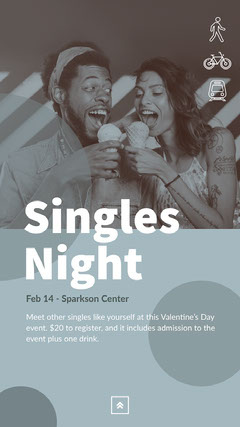 Blue and Grey Toned Singles Night Event Instagram Story Ice Cream Social Flyer