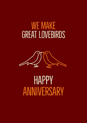 Claret Orange and White Anniversary Card Carte d'anniversaire de mariage