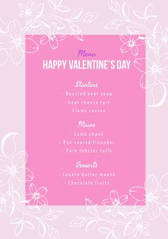 Pink Floral Valentine's Day Party Menu Casino
