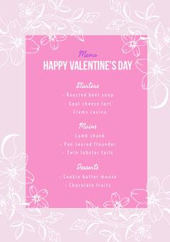 Pink Floral Valentine's Day Party Menu Valentine's Day
