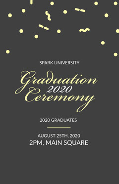 Black, White and Yellow Graduation Ceremony Event Flyer Confetti