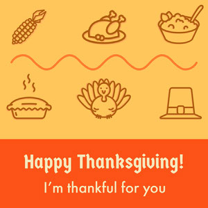Orange Illustrated Happy Thanksgiving Instagram Square Happy Thanksgiving Card Messages