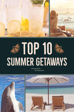 Top 10 Summer Vacations Travel Destinations Pinterest Graphic with Collage Cocktails