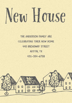 Yellow Illustrated Housewarming Party Invitation Card Housewarming Invitation