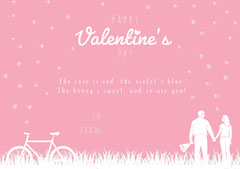 Pink and White Poem Illustrated Valentine's Day Card Couple