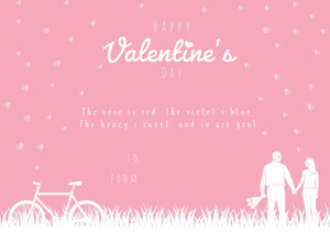 Pink and White Poem Illustrated Valentine's Day Card Poem/Poetry