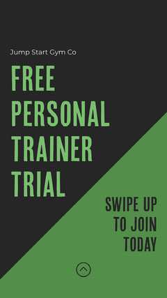 Black & Green Personal Trainer Free Trial Instagram Story Gym