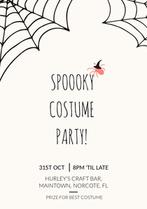 Spider and Cobweb Halloween Party Invitation Card Scary