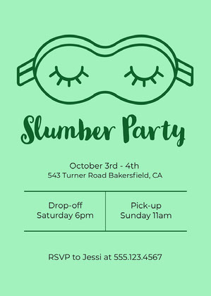 Green Minimal Sleepover Invitation Sleepover Invitation