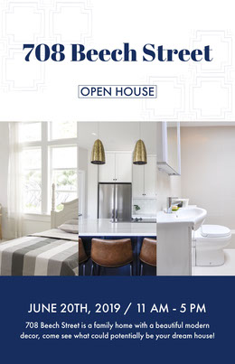 Blue and White Open House Real Estate Agency Flyer Prospectus immobilier