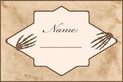 Beige Old Bones Halloween Party Name Tag Halloween Party Name Tag