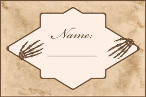 Beige Old Bones Halloween Party Name Tag Nimikortti