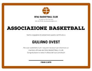 ASSOCIAZIONE BASKETBALL  Certificato