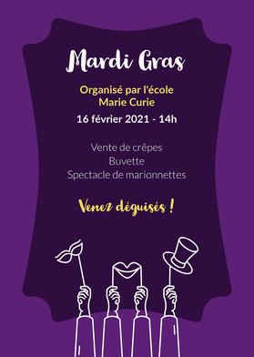Purple and Yellow Mardi Gras Invitation Card   Flyer événement