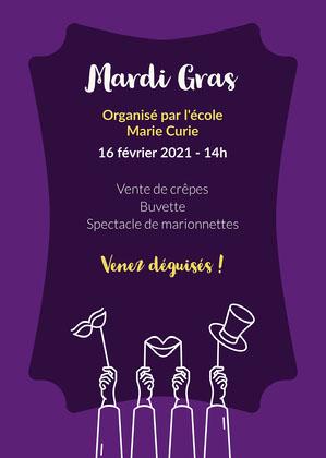 Purple and Yellow Mardi Gras Invitation Card   Affiche événementielle