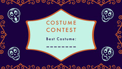 Purple Sugar Skulls Halloween Party Costume Card Halloween Costume Contest