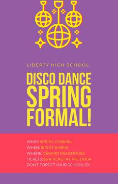 Purple and Yellow Retro School Disco Spring Formal Dance Event Flyer School Dance Flyer
