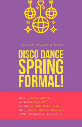 DISCO DANCE SPRING FORMAL! Folleto de invitación a evento