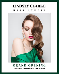 White With Portrait Of Woman Hair Studio Advertisement Grand Opening Flyer