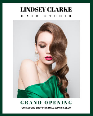 White With Portrait Of Woman Hair Studio Advertisement Folheto de inauguração