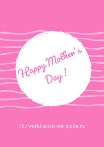 White and Pink Happy Mother's Day Card Mother's Day Card