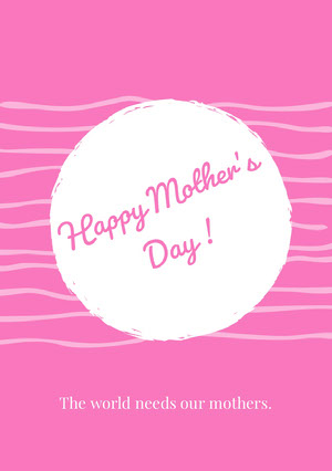 White and Pink Happy Mother's Day Card Mother's Day Messages