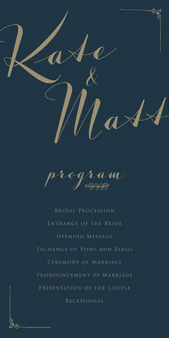 Navy Blue and Golden Hand Write Wedding Program Typography