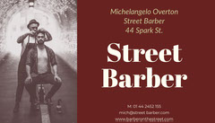 Claret and White Street Barber Card Barber