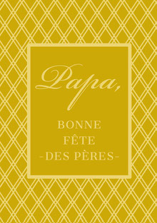 gold patterned Father's Day cards Carte de Fête des pères