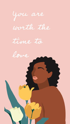white pink girl illustration you are worth it instagram story  Love