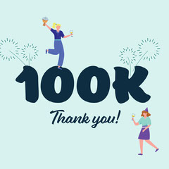 Blue Illustrated Hundred Thousand Followers Milestone Instagram Square Thank You Poster