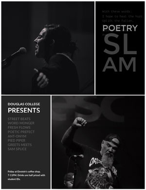 Black and White Poertry Slam Event Poster Poem/Poetry
