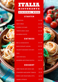 Red With Fresh Pasta Restaurant Menu Italy