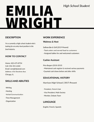 Black and White Food Industry High School Student Resume Resume  Examples