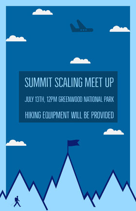 summit scaling hiking meet-up poster Volantino evento