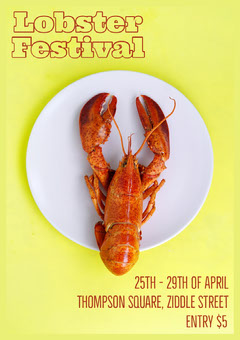 Lobster Festival Poster A4 Yellow