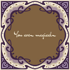 Brown and Purple Art Nouveau Frame Instagram Square Frame