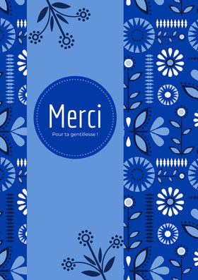 blue floral patterned thank you cards Carte de remerciement