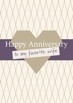 Purple and Golden Happy Anniversary Card Heart