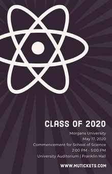 Science University Graduation Poster with Atom School Posters