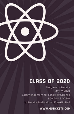 Science University Graduation Poster with Atom Science