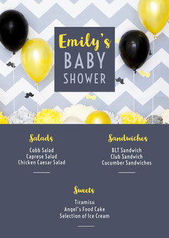 Grey Yellow and Black Baby Shower Menu Baby's First Year