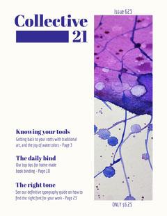 Blue Art Magazine Cover with Paint Paint