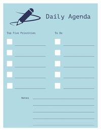 Blue and White Empty Personal Planner Weekly Schedule