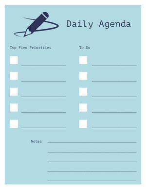 Blue and White Empty Personal Planner Agenda giornaliera