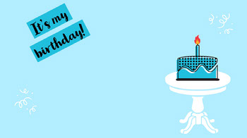 Blue Birthday Cake Illustration Zoom Background Planos de fundo para Zoom