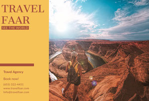 Orange Travel Brochure with Backpacker in Canyon Travel Brochure