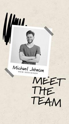 Black and White, Polaroid Style Meet The Team Instagram Story Teams